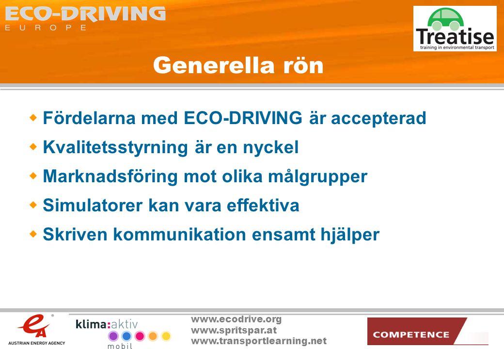 www.ecodrive.org www.spritspar.at www.transportlearning.net Generella rön  Fördelarna med ECO-DRIVING är accepterad  Kvalitetsstyrning är en nyckel