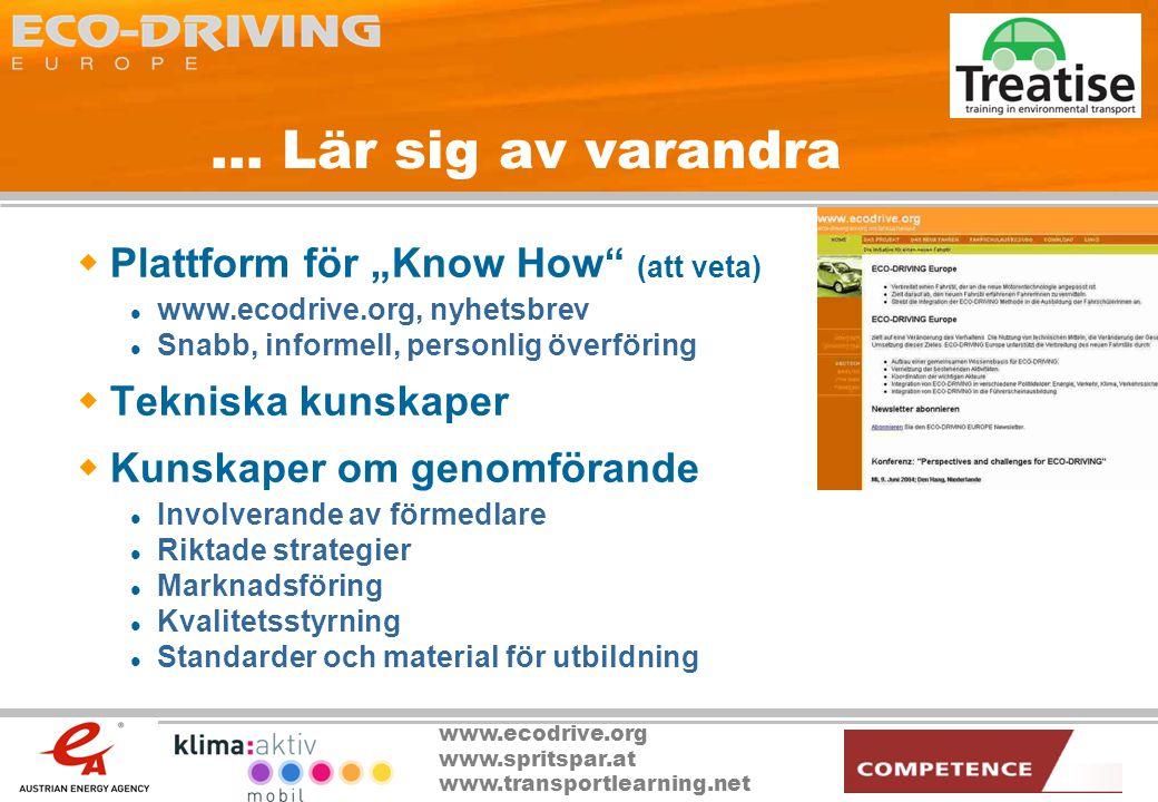 """www.ecodrive.org www.spritspar.at www.transportlearning.net... Lär sig av varandra  Plattform för """"Know How"""" (att veta)  www.ecodrive.org, nyhetsbre"""