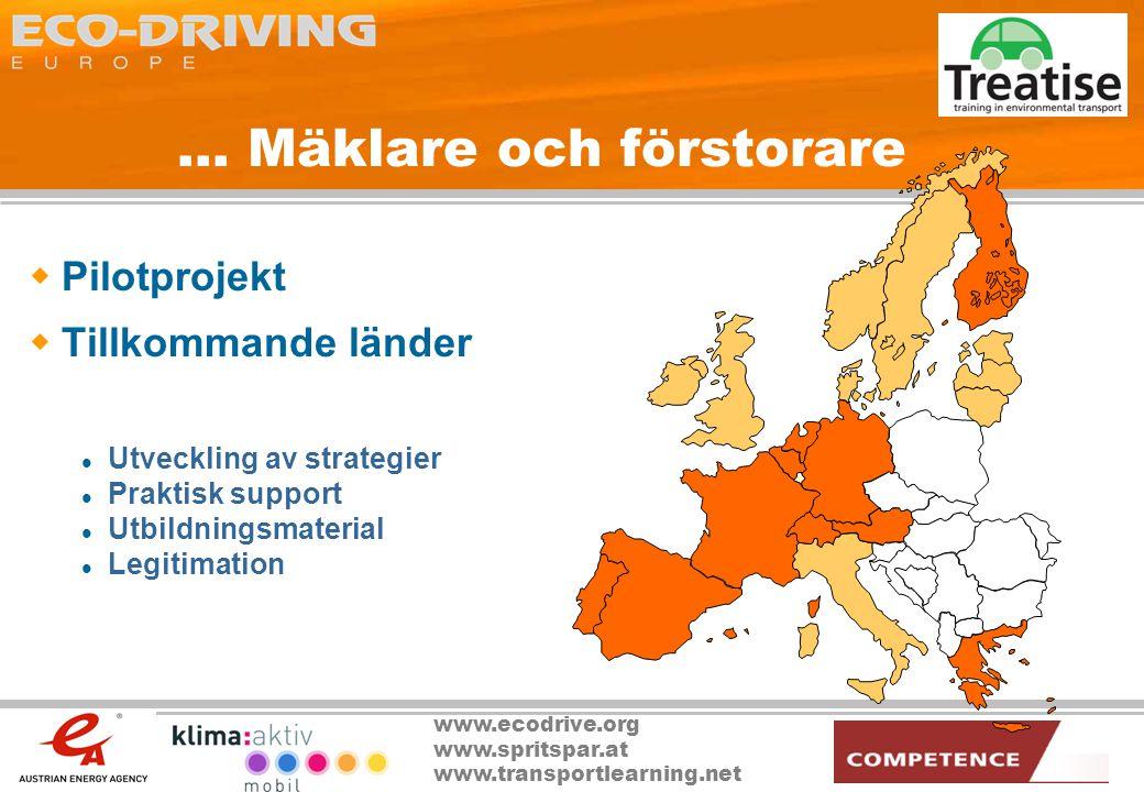 www.ecodrive.org www.spritspar.at www.transportlearning.net... Mäklare och förstorare  Pilotprojekt  Tillkommande länder  Utveckling av strategier