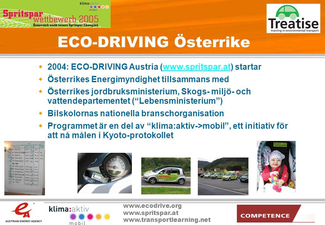 www.ecodrive.org www.spritspar.at www.transportlearning.net ECO-DRIVING Österrike  2004: ECO-DRIVING Austria (www.spritspar.at) startarwww.spritspar.
