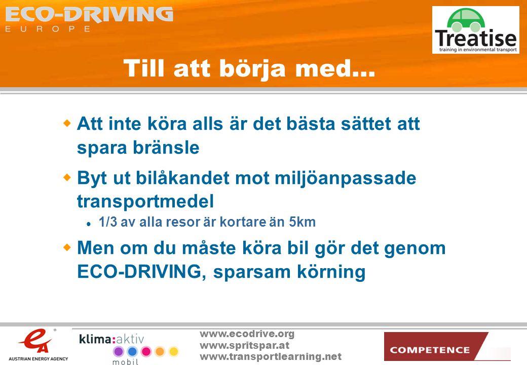 www.ecodrive.org www.spritspar.at www.transportlearning.net 2012 ECO-DRIVING Nyheter  2-liters bilar med integrerad ECO-DRIVER står för 5% av andelen nya bilar  Nya direktiv beskriver bränslebesparande cykler för alla automatväxellådor som säljs inom EU  Intelligent hastighetsanpassning och varvtalskontroller manövrerar bilarna 95% av körtiden