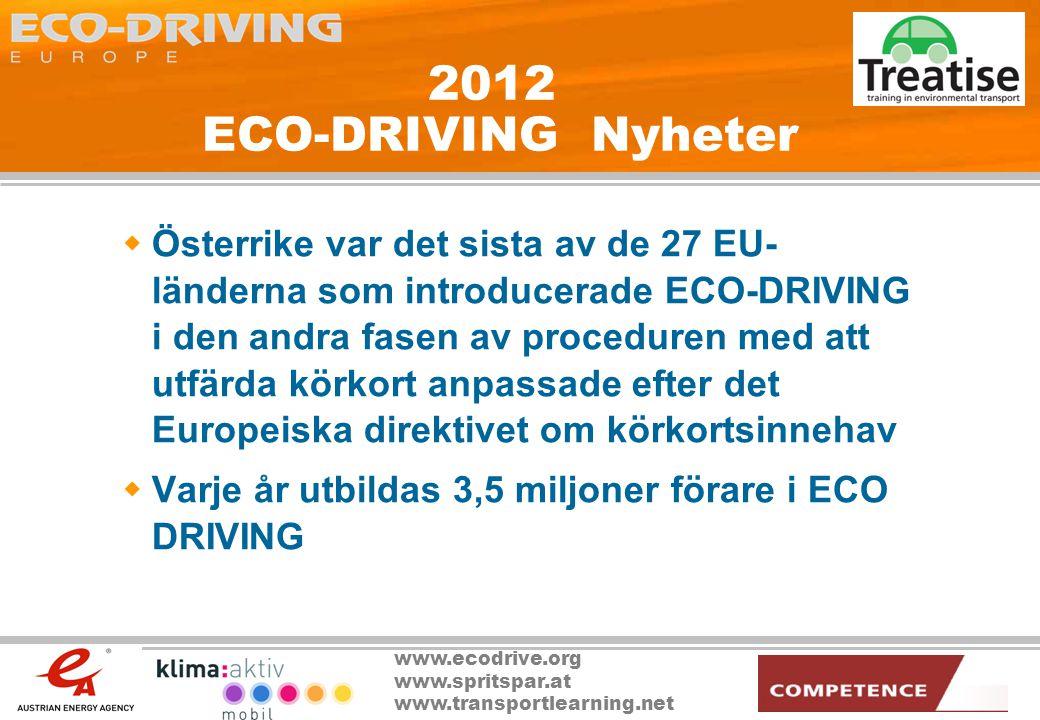 www.ecodrive.org www.spritspar.at www.transportlearning.net 2012 ECO-DRIVING Nyheter  Österrike var det sista av de 27 EU- länderna som introducerade