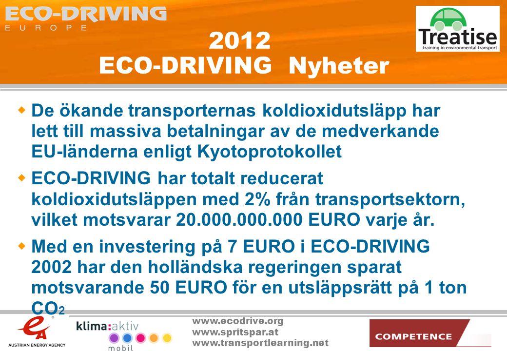 www.ecodrive.org www.spritspar.at www.transportlearning.net 2012 ECO-DRIVING Nyheter  De ökande transporternas koldioxidutsläpp har lett till massiva