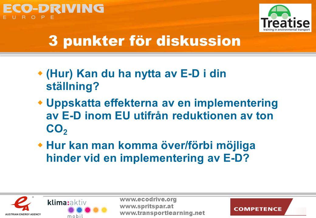 www.ecodrive.org www.spritspar.at www.transportlearning.net 3 punkter för diskussion  (Hur) Kan du ha nytta av E-D i din ställning?  Uppskatta effek