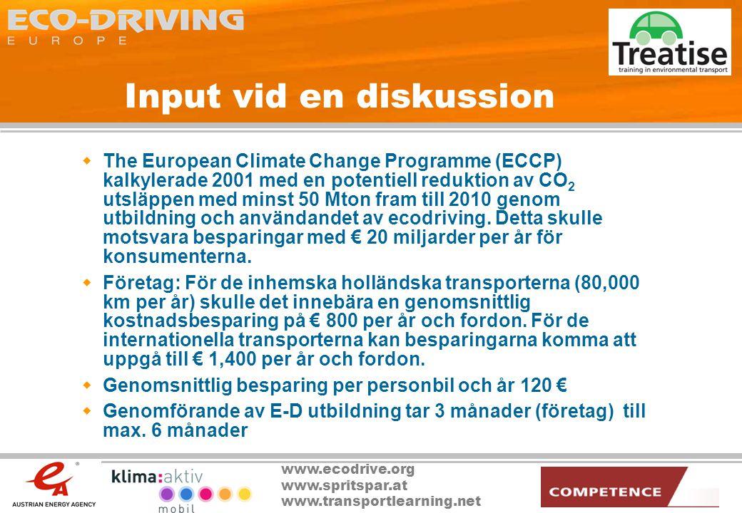 www.ecodrive.org www.spritspar.at www.transportlearning.net Input vid en diskussion  The European Climate Change Programme (ECCP) kalkylerade 2001 me