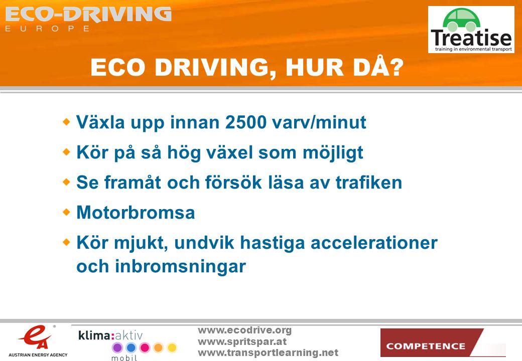 www.ecodrive.org www.spritspar.at www.transportlearning.net Extra tips för minskad förbrukning  Stäng av motorn vid korta stopp  Undvik onödig vikt  Undvik takboxar och takräcken  Optimera användandet av AC:n samt avfrostningen på bakrutan  Kontrollera däcktrycket  Använd instrumenten i bilen
