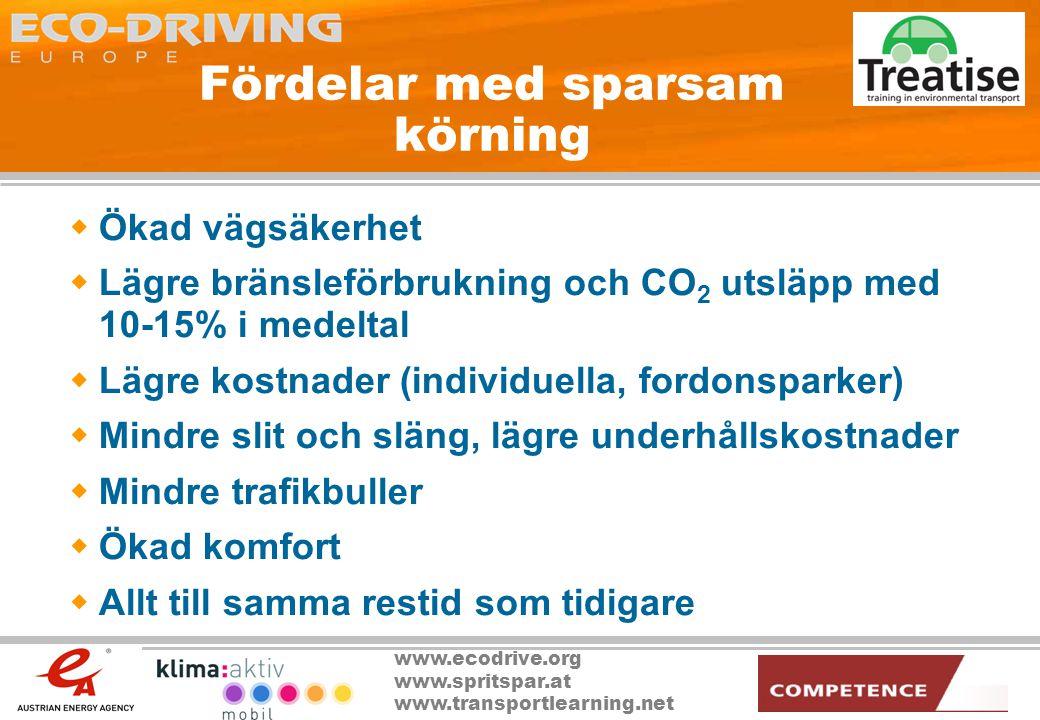 www.ecodrive.org www.spritspar.at www.transportlearning.net Input vid en diskussion  The European Climate Change Programme (ECCP) kalkylerade 2001 med en potentiell reduktion av CO 2 utsläppen med minst 50 Mton fram till 2010 genom utbildning och användandet av ecodriving.