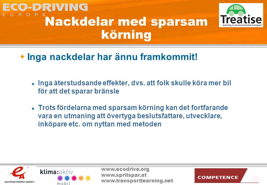 www.ecodrive.org www.spritspar.at www.transportlearning.net ECO DRIVING, Verksamhetsområden  Utbildning av bilskollärare  Inskrivet i bilskolornas läroplan  Aktiviteter för att höja medvetenheten  Tävlingar  TV-reklam  PR  Utbildning för chaufförer (bilar, bussar, lastbilar)