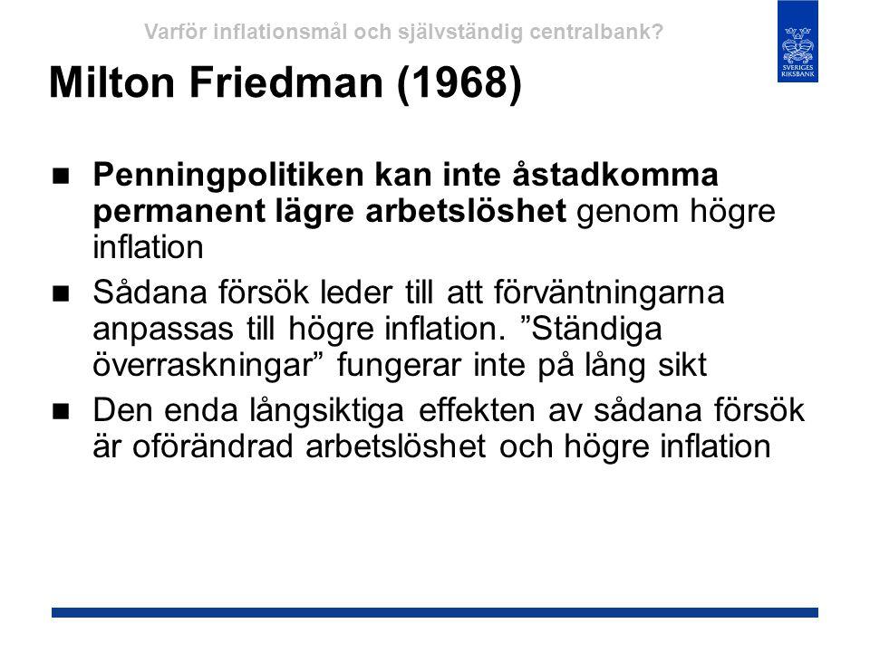 Milton Friedman (1968)  Penningpolitiken kan inte åstadkomma permanent lägre arbetslöshet genom högre inflation  Sådana försök leder till att förvän