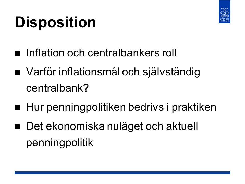 Disposition  Inflation och centralbankers roll  Varför inflationsmål och självständig centralbank?  Hur penningpolitiken bedrivs i praktiken  Det