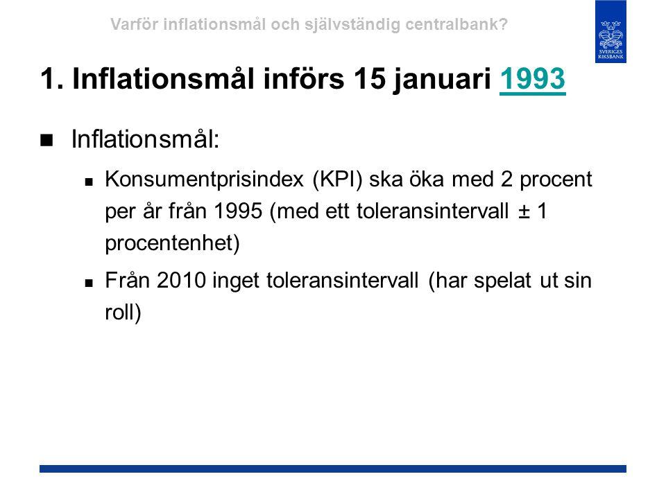 1. Inflationsmål införs 15 januari 19931993  Inflationsmål:  Konsumentprisindex (KPI) ska öka med 2 procent per år från 1995 (med ett toleransinterv