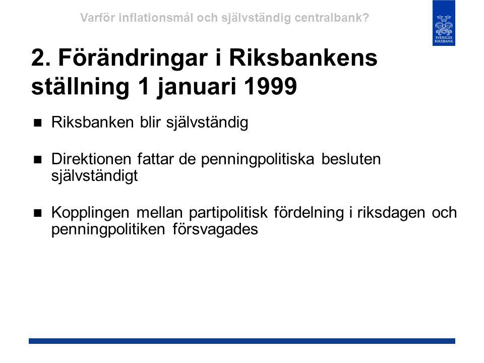 2. Förändringar i Riksbankens ställning 1 januari 1999  Riksbanken blir självständig  Direktionen fattar de penningpolitiska besluten självständigt