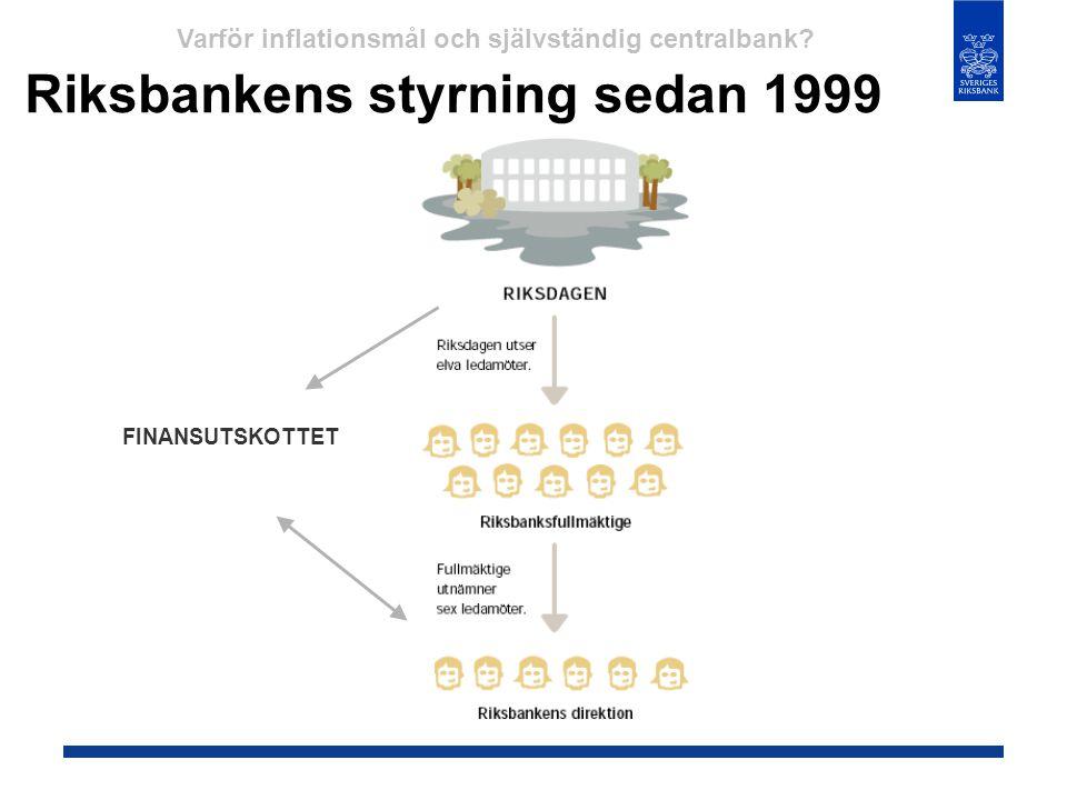 Riksbankens styrning sedan 1999 FINANSUTSKOTTET Varför inflationsmål och självständig centralbank?