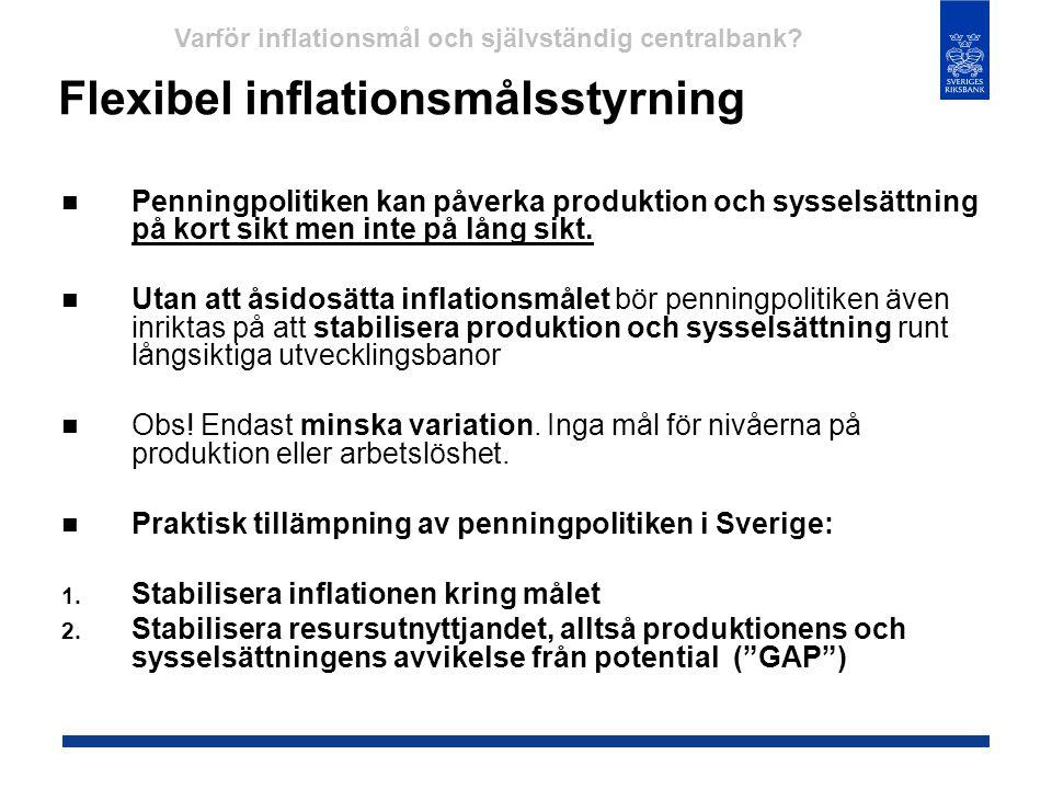 Flexibel inflationsmålsstyrning  Penningpolitiken kan påverka produktion och sysselsättning på kort sikt men inte på lång sikt.  Utan att åsidosätta