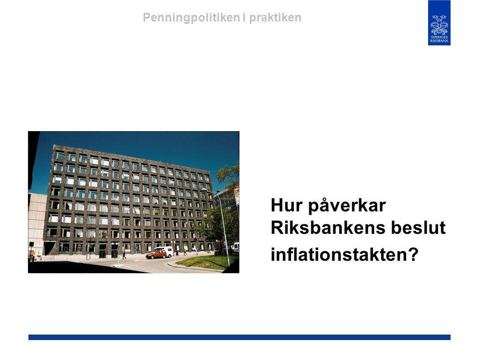 Hur påverkar Riksbankens beslut inflationstakten? Penningpolitiken i praktiken