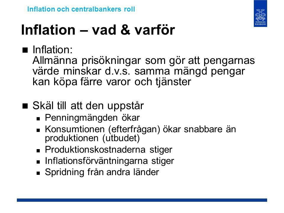 Inflation – vad & varför  Inflation: Allmänna prisökningar som gör att pengarnas värde minskar d.v.s. samma mängd pengar kan köpa färre varor och tjä