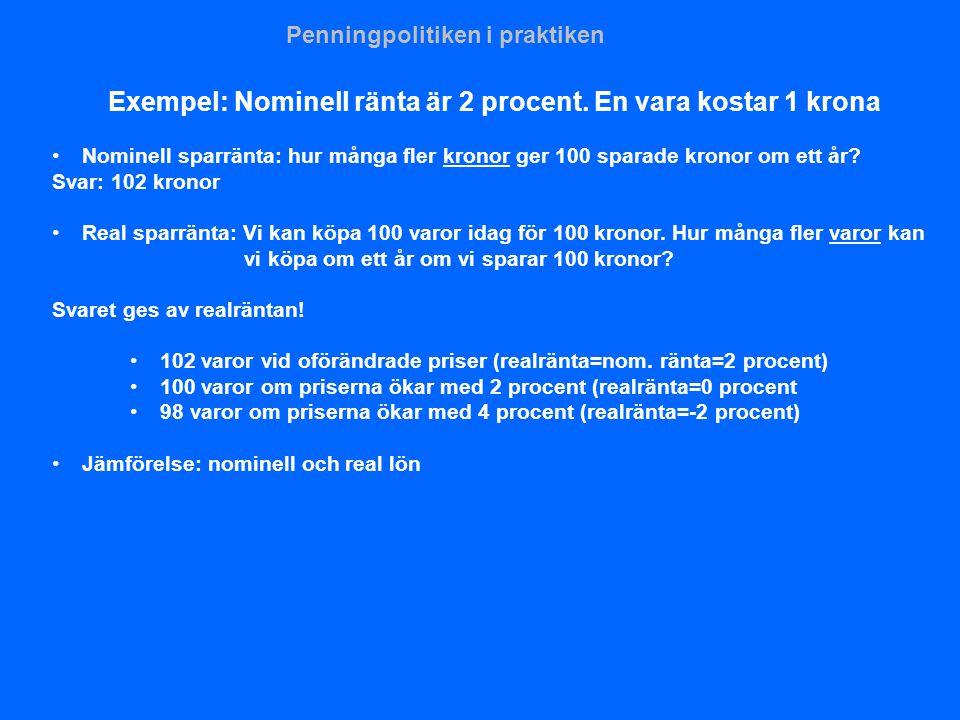 Exempel: Nominell ränta är 2 procent. En vara kostar 1 krona •Nominell sparränta: hur många fler kronor ger 100 sparade kronor om ett år? Svar: 102 kr
