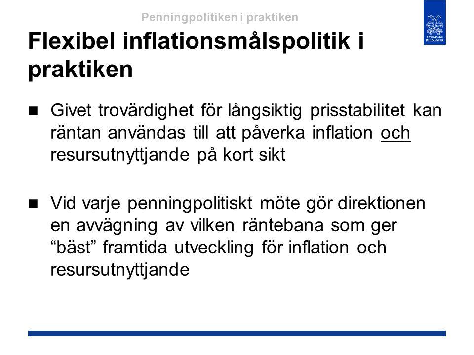 Flexibel inflationsmålspolitik i praktiken  Givet trovärdighet för långsiktig prisstabilitet kan räntan användas till att påverka inflation och resur