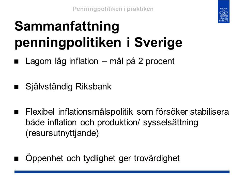 Sammanfattning penningpolitiken i Sverige  Lagom låg inflation – mål på 2 procent  Självständig Riksbank  Flexibel inflationsmålspolitik som försök