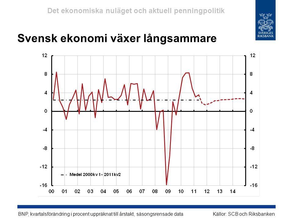 Svensk ekonomi växer långsammare BNP, kvartalsförändring i procent uppräknat till årstakt, säsongsrensade dataKällor: SCB och Riksbanken Det ekonomisk