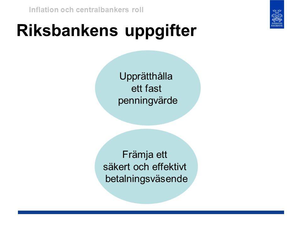 Riksbankens uppgifter Upprätthålla ett fast penningvärde Främja ett säkert och effektivt betalningsväsende Inflation och centralbankers roll
