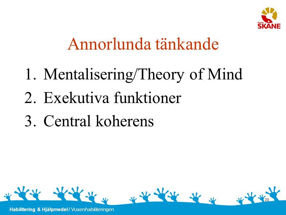 Habilitering & Hjälpmedel / Vuxenhabiliteringen 20 Annorlunda tänkande 1.Mentalisering/Theory of Mind 2.Exekutiva funktioner 3.Central koherens