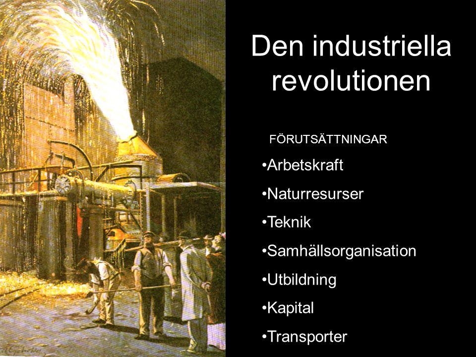 Den industriella revolutionen •Arbetskraft •Naturresurser •Teknik •Samhällsorganisation •Utbildning •Kapital •Transporter FÖRUTSÄTTNINGAR