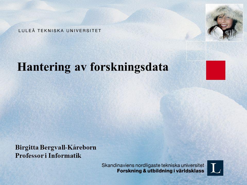 Hantering av forskningsdata Birgitta Bergvall-Kåreborn Professor i Informatik