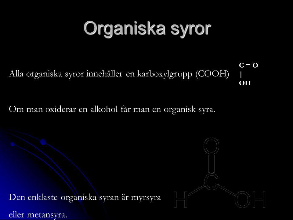 Organiska syror Alla organiska syror innehåller en karboxylgrupp (COOH) Om man oxiderar en alkohol får man en organisk syra.