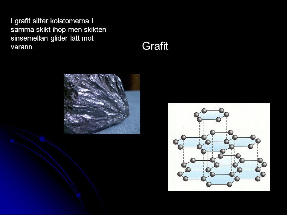 Grafit I grafit sitter kolatomerna i samma skikt ihop men skikten sinsemellan glider lätt mot varann.