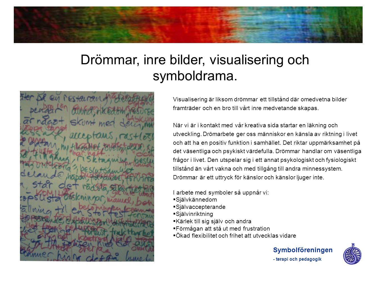 Symbolföreningen - terapi och pedagogik Drömmar, inre bilder, visualisering och symboldrama. Visualisering är liksom drömmar ett tillstånd där omedvet