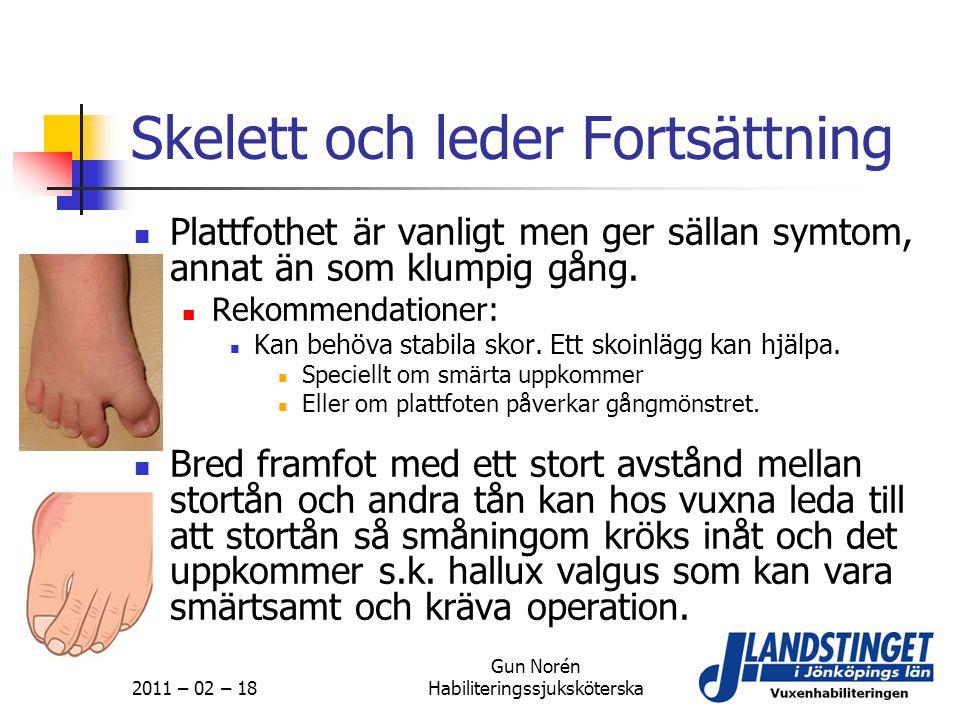2011 – 02 – 18 Gun Norén Habiliteringssjuksköterska Skelett och leder Fortsättning  Plattfothet är vanligt men ger sällan symtom, annat än som klumpi