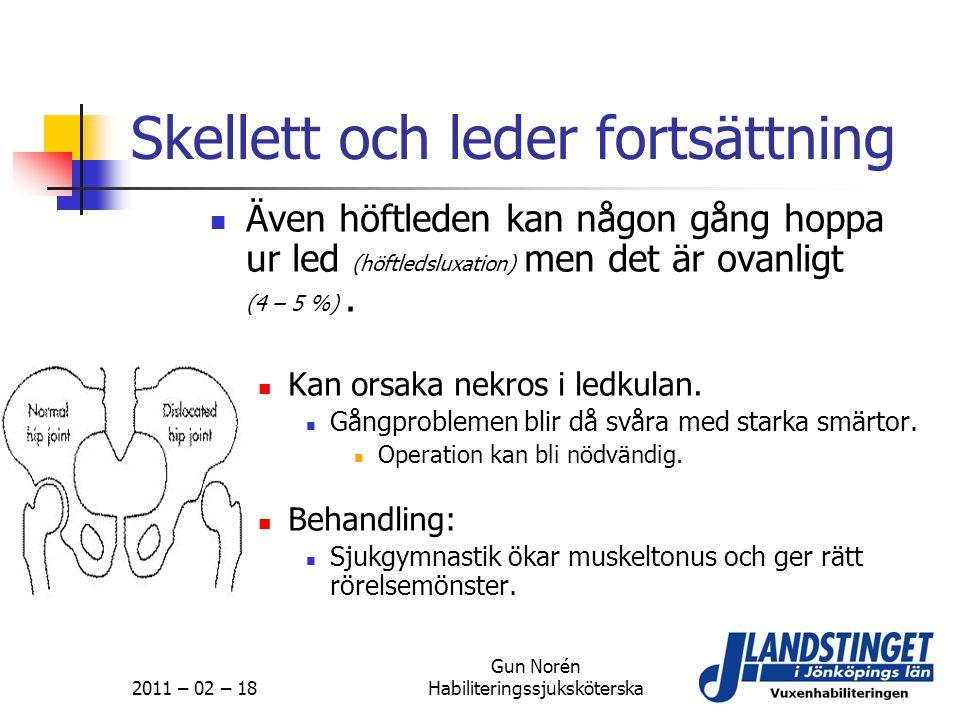 2011 – 02 – 18 Gun Norén Habiliteringssjuksköterska Skellett och leder fortsättning  Även höftleden kan någon gång hoppa ur led (höftledsluxation) me