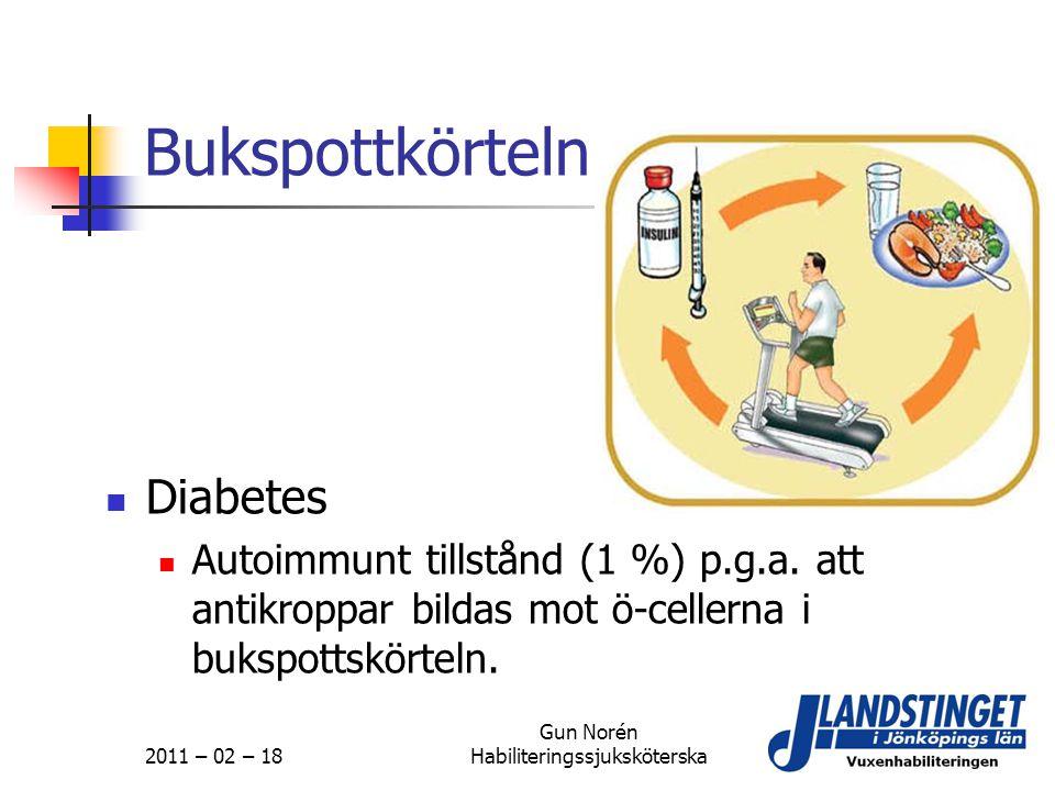 2011 – 02 – 18 Gun Norén Habiliteringssjuksköterska Bukspottkörteln  Diabetes  Autoimmunt tillstånd (1 %) p.g.a. att antikroppar bildas mot ö-celler
