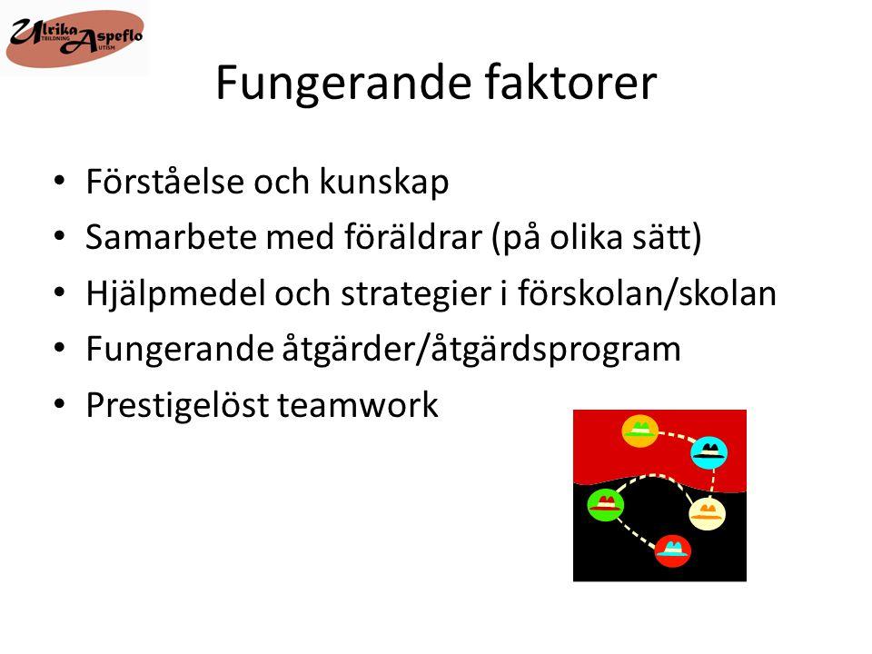 Fungerande faktorer • Förståelse och kunskap • Samarbete med föräldrar (på olika sätt) • Hjälpmedel och strategier i förskolan/skolan • Fungerande åtg