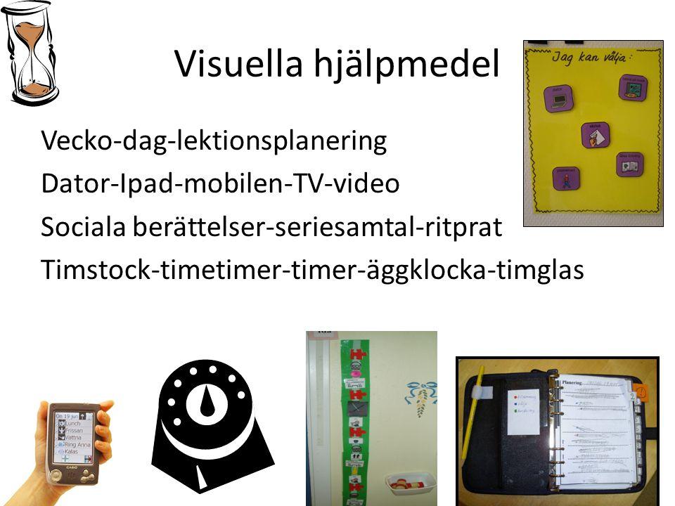 Visuella hjälpmedel Vecko-dag-lektionsplanering Dator-Ipad-mobilen-TV-video Sociala berättelser-seriesamtal-ritprat Timstock-timetimer-timer-äggklocka