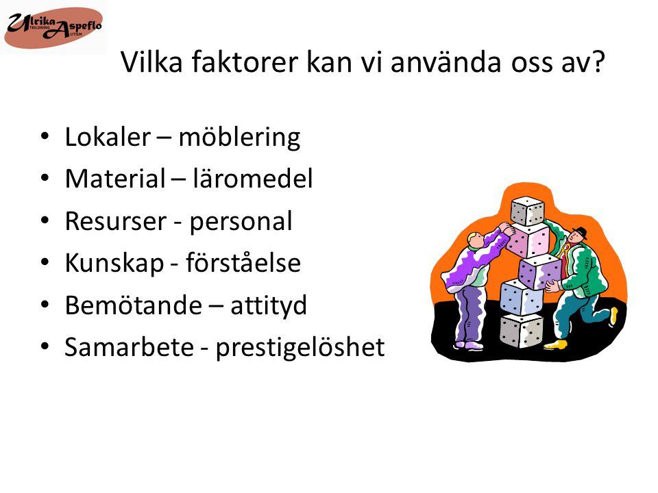 Vilka faktorer kan vi använda oss av? • Lokaler – möblering • Material – läromedel • Resurser - personal • Kunskap - förståelse • Bemötande – attityd
