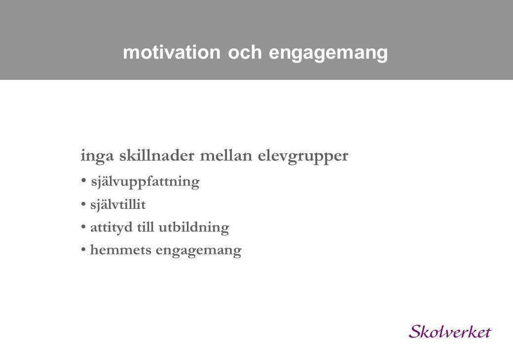 motivation och engagemang inga skillnader mellan elevgrupper • självuppfattning • självtillit • attityd till utbildning • hemmets engagemang