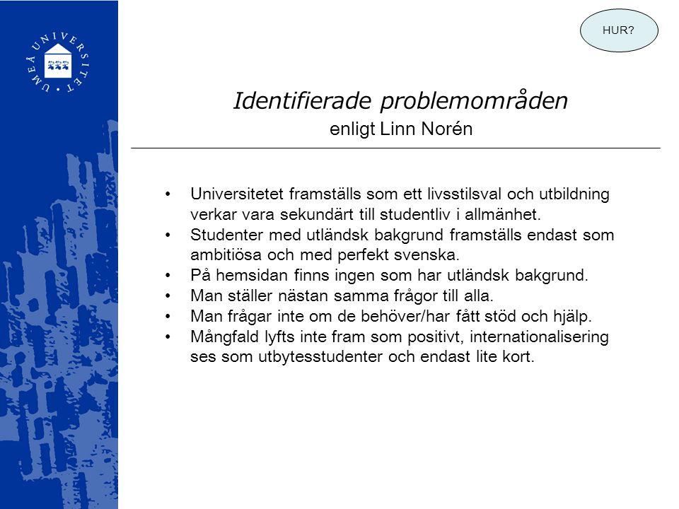 Identifierade problemområden enligt Linn Norén •Universitetet framställs som ett livsstilsval och utbildning verkar vara sekundärt till studentliv i a