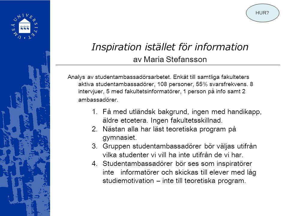 Inspiration istället för information av Maria Stefansson 1.Få med utländsk bakgrund, ingen med handikapp, äldre etcetera. Ingen fakultetsskillnad. 2.N