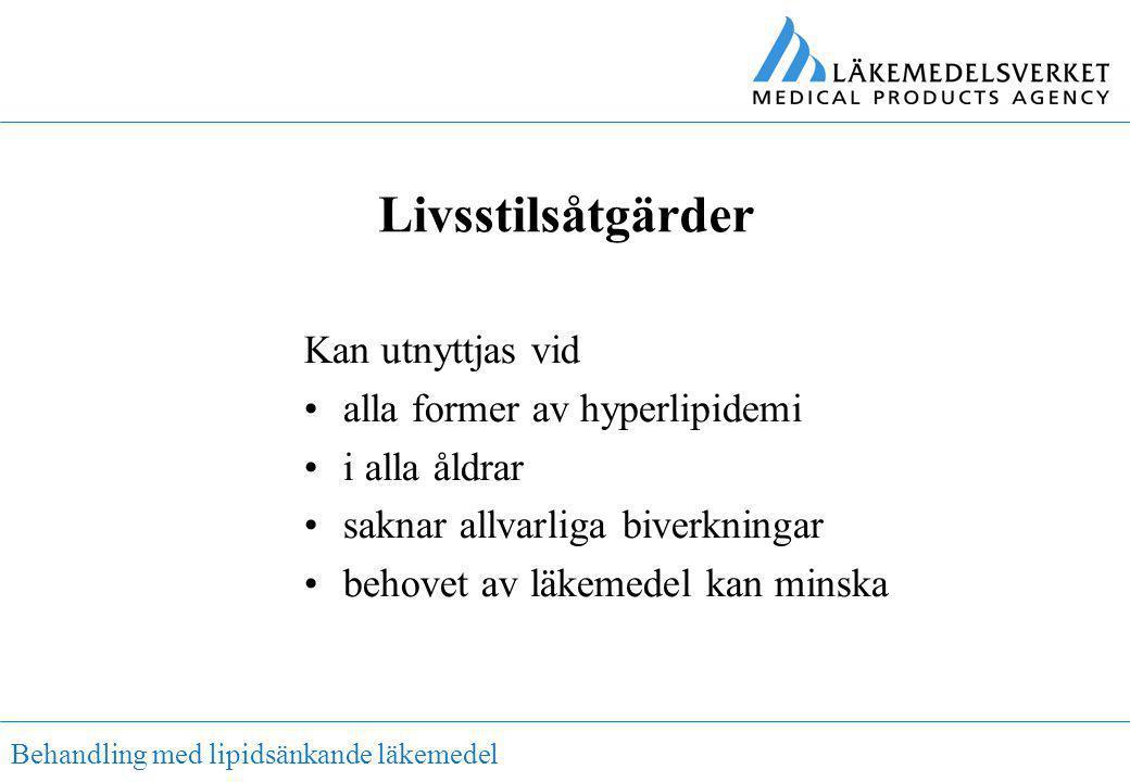 Behandling med lipidsänkande läkemedel Livsstilsåtgärder Kan utnyttjas vid •alla former av hyperlipidemi •i alla åldrar •saknar allvarliga biverkninga