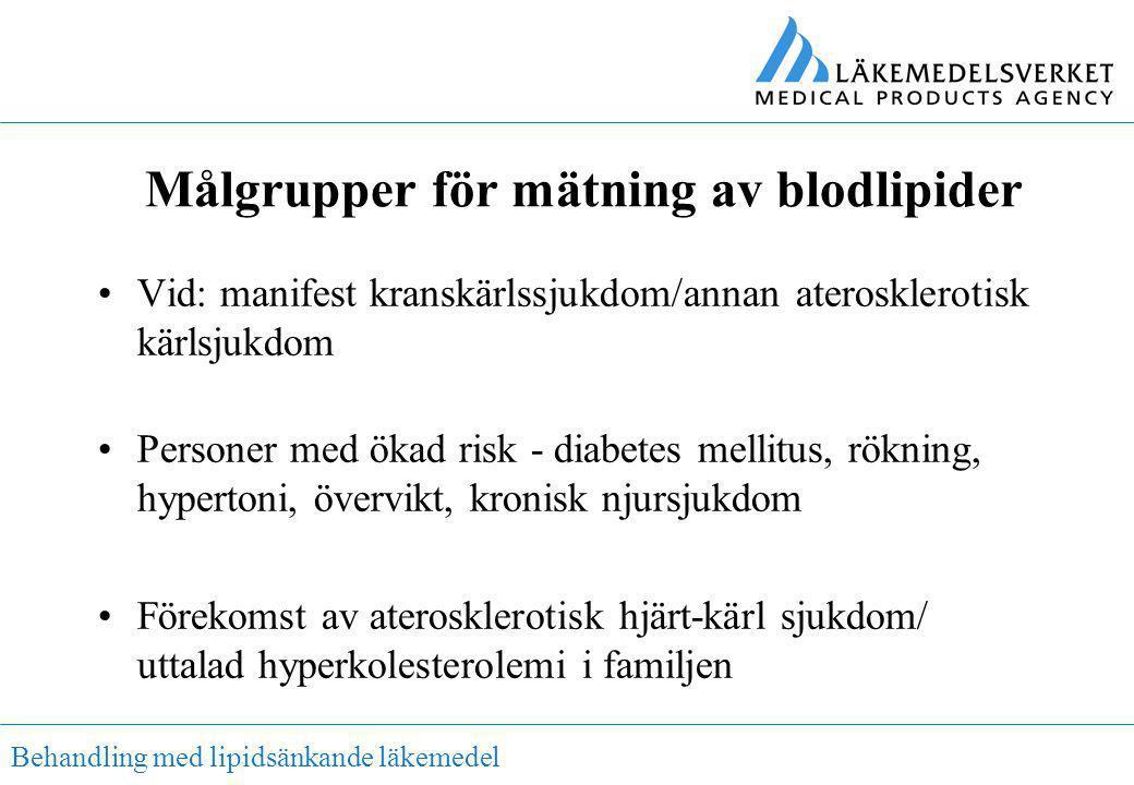 Behandling med lipidsänkande läkemedel Målgrupper för mätning av blodlipider •Vid: manifest kranskärlssjukdom/annan aterosklerotisk kärlsjukdom •Perso