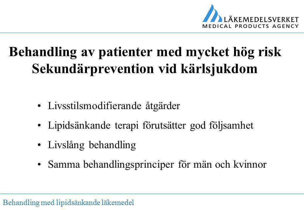 Behandling med lipidsänkande läkemedel Behandling av patienter med mycket hög risk Sekundärprevention vid kärlsjukdom •Livsstilsmodifierande åtgärder