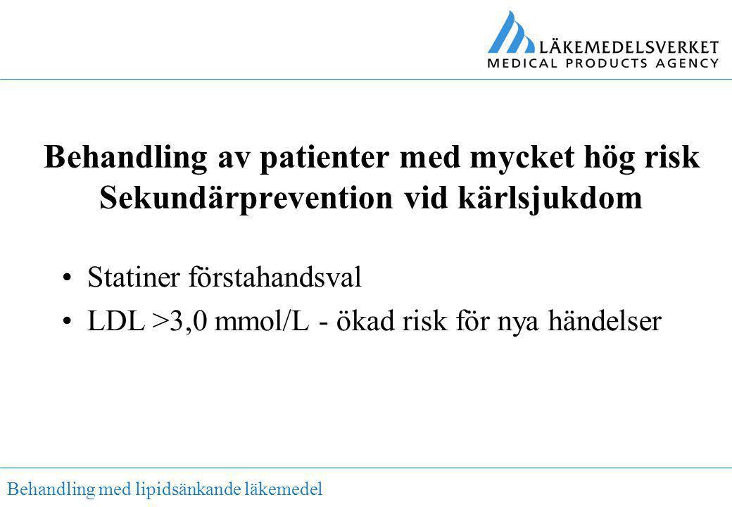 Behandling med lipidsänkande läkemedel Behandling av patienter med mycket hög risk Sekundärprevention vid kärlsjukdom •Statiner förstahandsval •LDL >3
