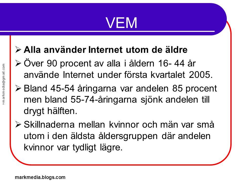 »markmedia@gmail.com markmedia.blogs.com VEM  Alla använder Internet utom de äldre  Över 90 procent av alla i åldern 16- 44 år använde Internet unde