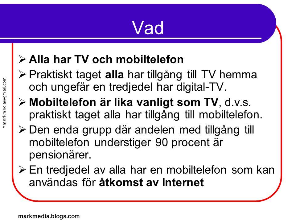 »markmedia@gmail.com markmedia.blogs.com Vad  Alla har TV och mobiltelefon  Praktiskt taget alla har tillgång till TV hemma och ungefär en tredjedel
