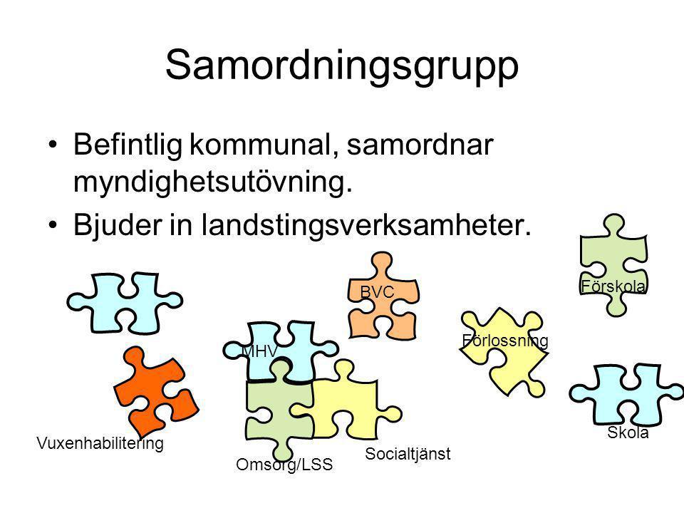 Samordningsgrupp •Befintlig kommunal, samordnar myndighetsutövning. •Bjuder in landstingsverksamheter. Socialtjänst MHV BVC Omsorg/LSS Förlossning Sko