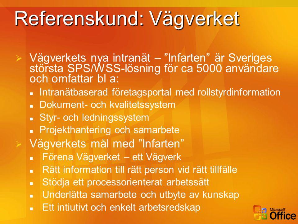 """Referenskund: Vägverket  Vägverkets nya intranät – """"Infarten"""" är Sveriges största SPS/WSS-lösning för ca 5000 användare och omfattar bl a:  Intranät"""