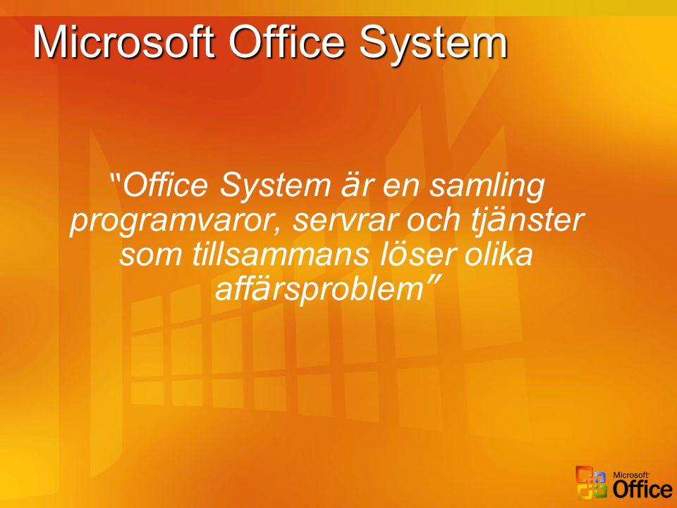 """Microsoft Office System """" Office System ä r en samling programvaror, servrar och tj ä nster som tillsammans l ö ser olika aff ä rsproblem """""""
