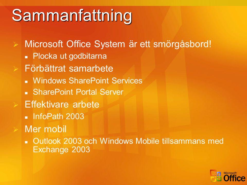SammanfattningSammanfattning  Microsoft Office System är ett smörgåsbord!  Plocka ut godbitarna  Förbättrat samarbete  Windows SharePoint Services